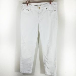 Micheal kors distressed cropped skinny white jeans